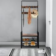 Ktaxon  Industrial Coat Rack Shoe Bench, Hall Tree Entryway Storage Shelf, Wood Look Accent Furniture with Metal Frame, 3 in 1 Design