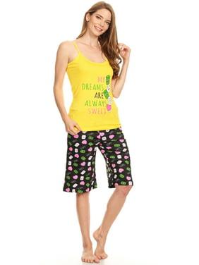 13399B Womens Bermuda Set Sleepwear Pajamas Woman Sleeveless Sleep Nightshirt White L