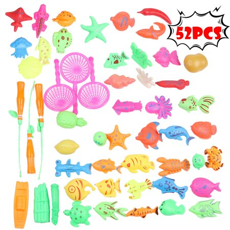 Tuscom 52pcs Bath Toys For Kids Fishing Magnetic Toys Floating Fishing (Iron Man Magnetic Floating Toy For Sale)