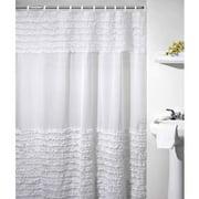 Ruffles Shower Curtain White