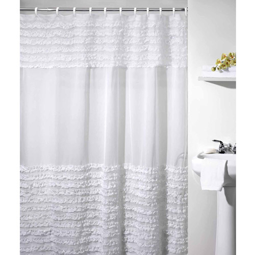 Ruffles Shower Curtain, White