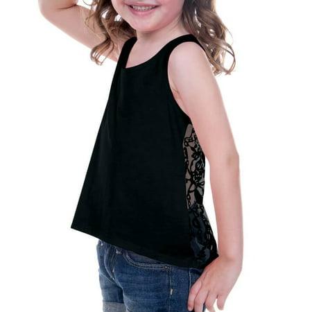 Kavio! Little Girls 3-6X Jersey High Low Lace Back Tank Black 5/6 - Girls Black Toms