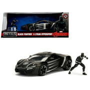 """Lykan Hypersport Black with Black Panther Diecast Figure """"Marvel"""" Series 1/24 Diecast Model Car by Jada"""