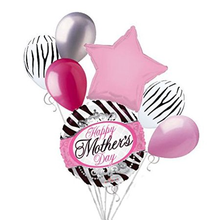 7 pc Happy Mother's Day Elegant Zebra Balloon Bouquet Party Decoration Mom Pink - Zebra Decorations