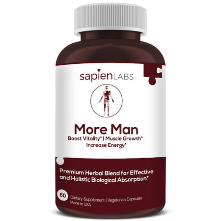 Herbal Testosterone (Testosterone Booster - Made in USA - Horny Goat Weed, Shilajit, Maca Root - Build Muscle, Calm Anxiety, Improve Vitality - Premium, Holistic Herbal Blend by Sapien Labs)