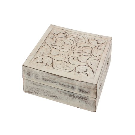 Worn White Wooden Box with Hinged Lid and Carved Filigree Details - Hinged Wooden Box