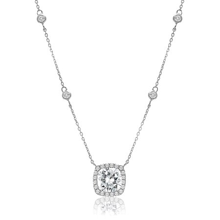 Cubic Zirconia Sterling Silver Cushion Shaped Station (Fan Shaped Designer Necklace)