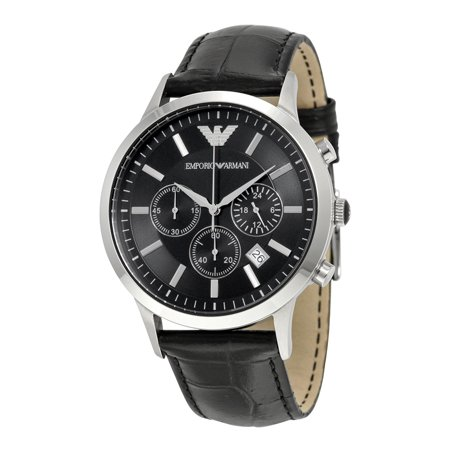 Chronograph Silver Dial Leather (AR2447 Men's Black Dial Leather Strap Chronograph Watch )