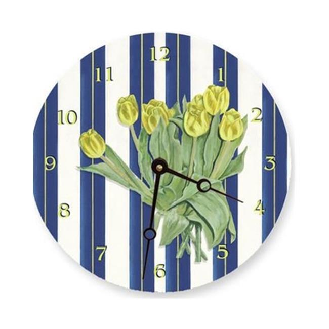 Lexington Studios 23-Round Clock:23088R Yellow Tulips 10 inch  Round clock