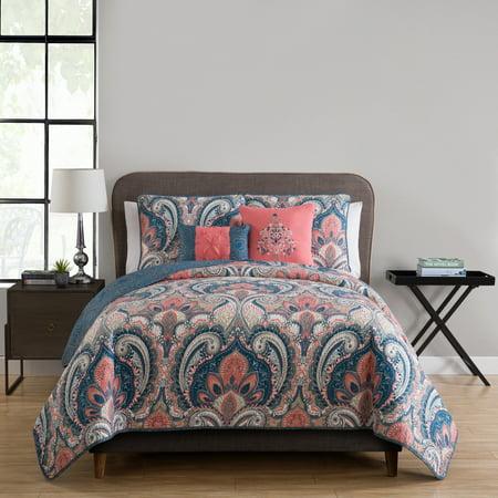 VCNY Home Casa Re`al 5 Piece Quilt Bedding Set, Sham(s), 2 Decorative pillows