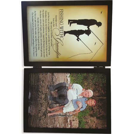 Fishing With Grandpa Sentiment 5X7 Black Photo Frame Designer Jewelry by Sweet Pea ()