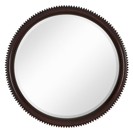 Majestic Mirror Contemporary Round Dark Brown Wenge Circular Beveled Wall Mirror ()