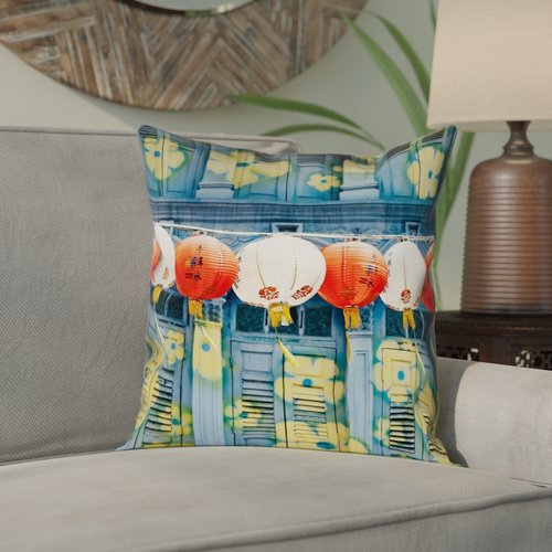 Bloomsbury Market Akini Lanterns in Singapore Square Pillow Cover with Zipper