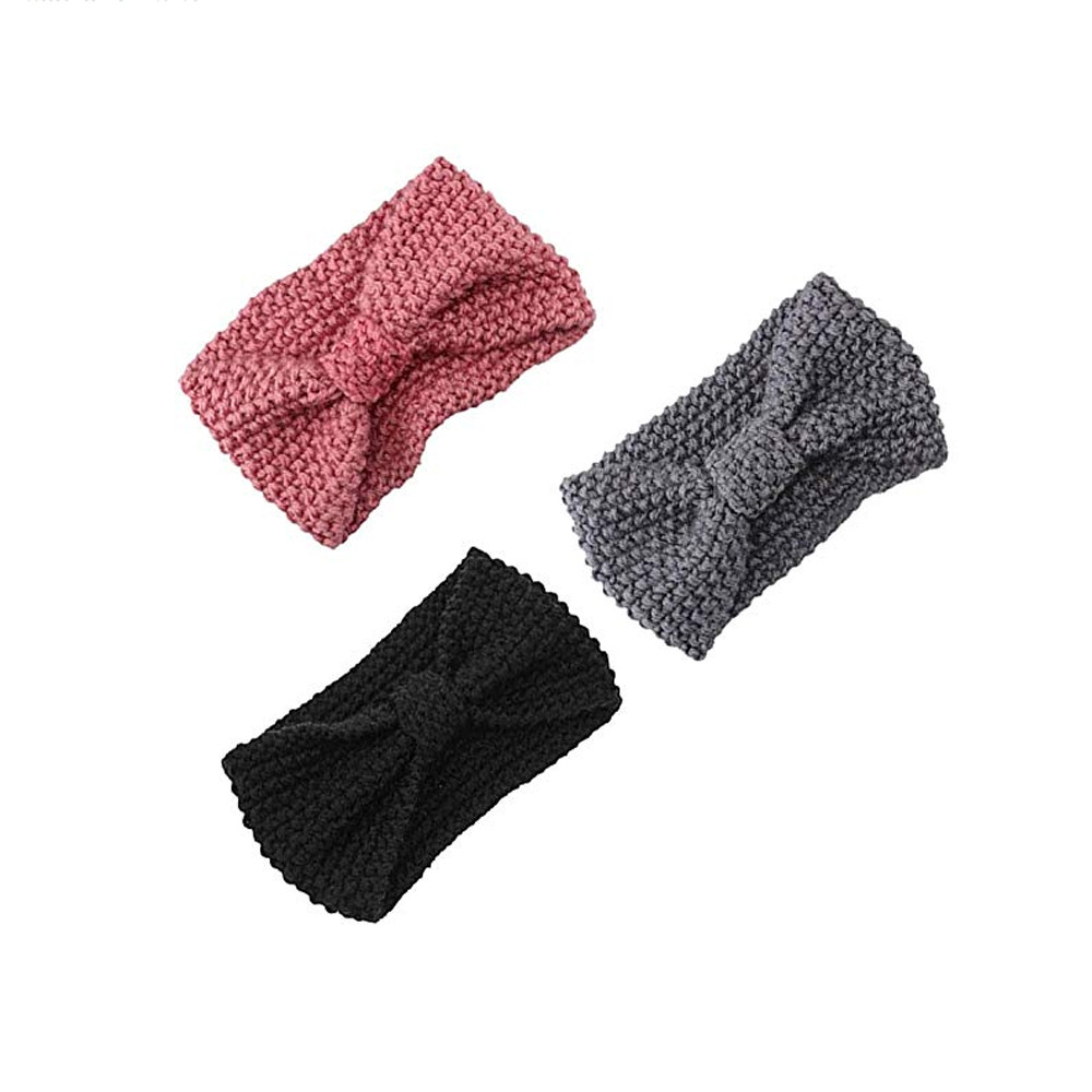 Outtop Women Hair Ball Knitting Headband Elastic Handmade Bow Twisted Design HairBand