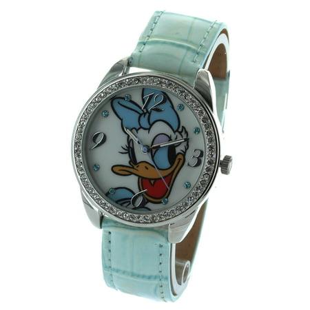Gemstone Bezel Leather Strap Watch (Daisy Duck Watch With Stone Bezel and Genuine Leather Strap)
