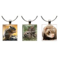 Chipmunk, Bunnies & Ferret ~ Scrabble Tile Wine Glass Charms ~ Set Of 3 ~ Stemware Charms/Markers/Pendants