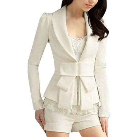Allegra K Women's Shawl CollarThin Blazer Jacket Coat Whites (Size M / 8)