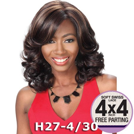 """Sis Prime Human Hair Blend 4""""X4"""" Lace Front Wig - FAITH (1 Jet Black) African Pride Blends"""