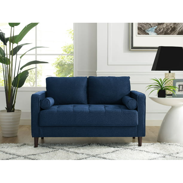 Lifestyle Solutions Lorelei Loveseat with Upholstered Fabric and Eucalyptus Wood Frame, Navy Blue