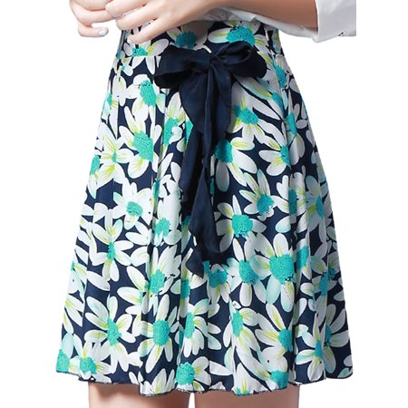 Summer Floral Skirt (Women's Floral Print Pleated Summer Skirt Blue (Size S /)