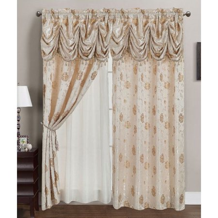 Jacquard Rod Pocket Curtains - Kelly Jacquard 54 x 84 in. Rod Pocket Single Curtain Panel w/ Attached 18 in. Valance, Beige