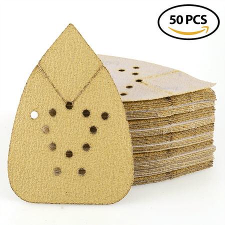 Sanding Sheets 60 Grit Hook and Loop Sandpaper - LotFancy 12 Holes Mouse Detail Palm Sander Paper, Pack of 50
