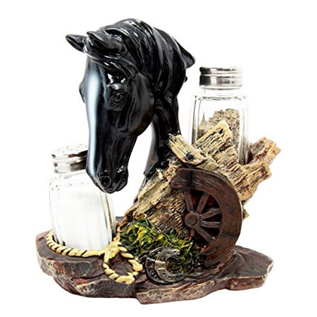 Western Decore (Atlantic Collectibles Western Decor Black Stallion Horse By Wagon Wheel Salt Pepper Shakers Holder Figurine Set)