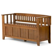 Brooklyn + Max Brunswick Solid Wood 48 inch Wide Rustic Entryway Storage Bench in Light Avalon Brown