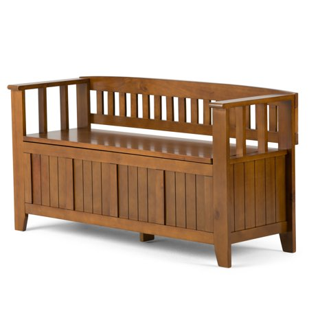 Brunswick Furniture (Brooklyn + Max Brunswick Solid Wood 48 inch Wide Rustic Entryway Storage Bench in Light Avalon Brown )