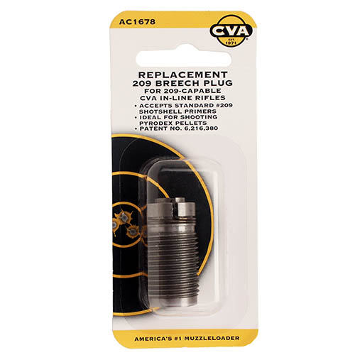 CVA AC1678 209 Breech Plug, 209 Primers, Stainless Steel by CVA