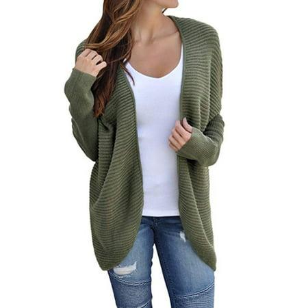 HIMONE - Women Long Batwing Sleeve Oversized Loose Knitted Sweater Jumper  Open Front Plain Cardigan Outwear Coat Bandage Tops - Walmart.com 352068deb