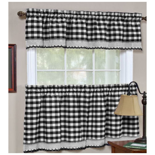 Sweet Home Collection Buffalo Check Gingham '' Curtain Valance and Tier Set