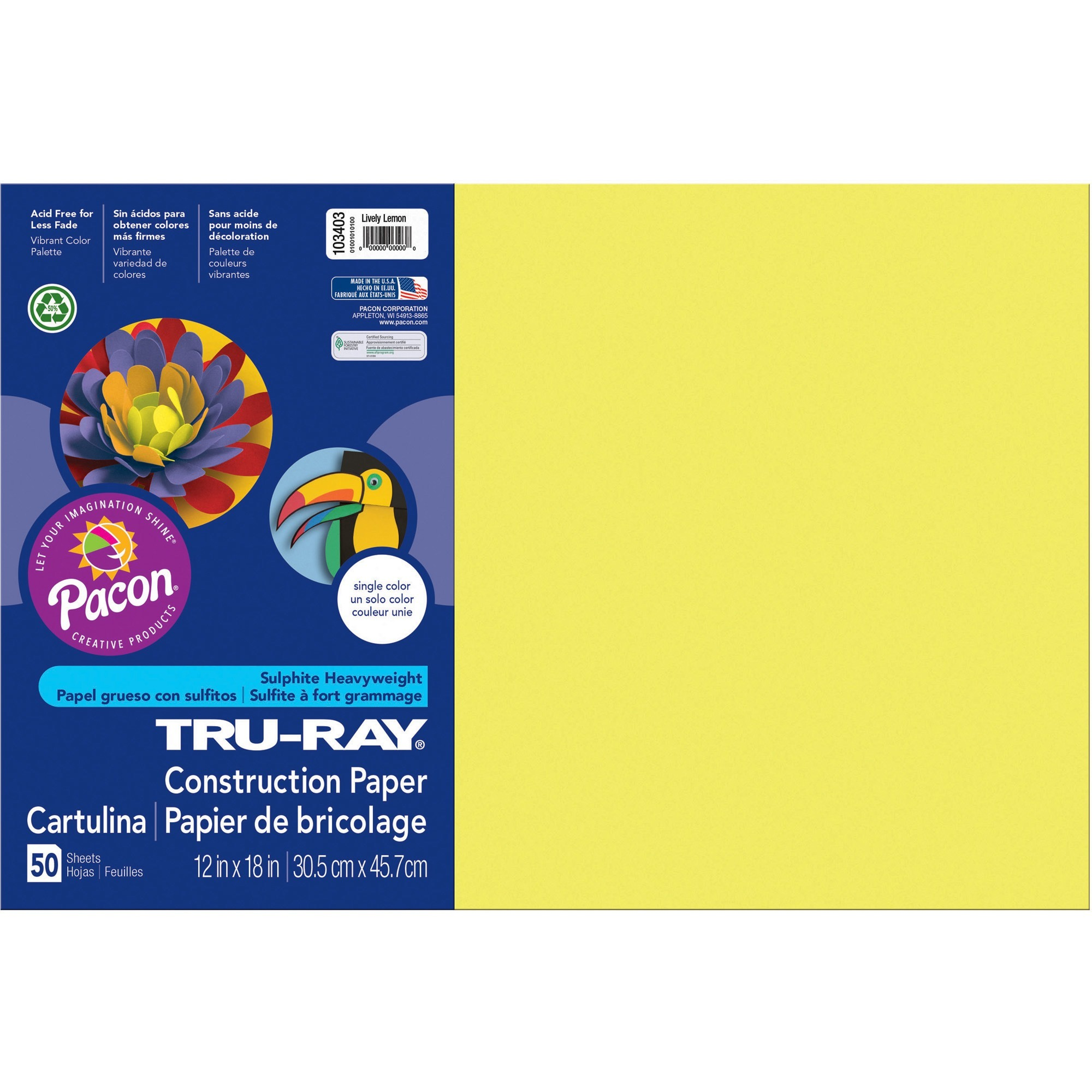 Tru-Ray, PAC103403, Construction Paper, 50 / Pack, Lively Lemon
