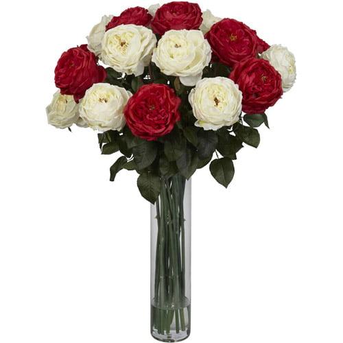 Fancy Rose Silk Flower Arrangement, Red and White