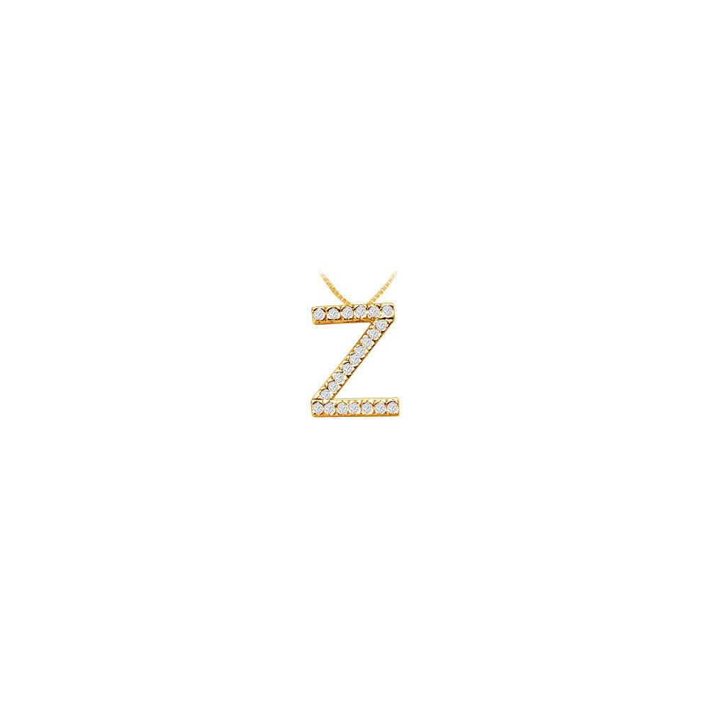 Classic Z Initial Cubic Zirconia Pendant 18K Yellow Gold Vermeil 0.33 CT CZs - image 2 de 2