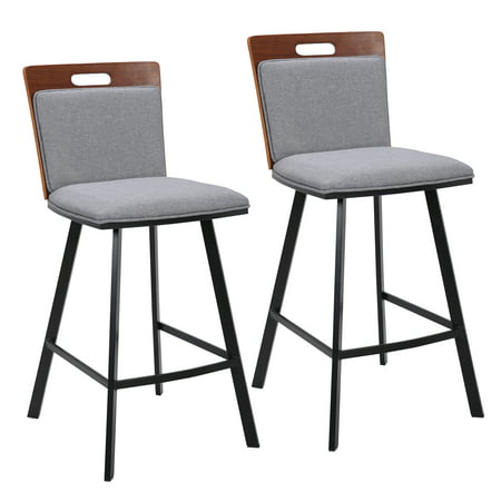 Porthos Home Set of 2 Counter Height Bar Stools, Luxury Walnut Veneer Designer Style Ideal for Breakfast Kitchen, Restaurants and Bars, Size 37 x 17 x 20 inch ()