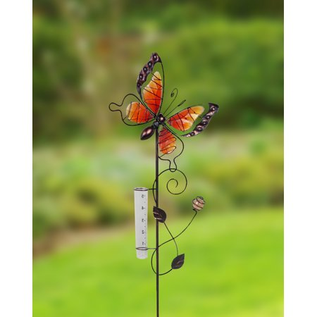 Painted Butterfly Metal Garden Stakes w/Rain Gauge - Red ; Product Size: - Butterfly Metal Garden