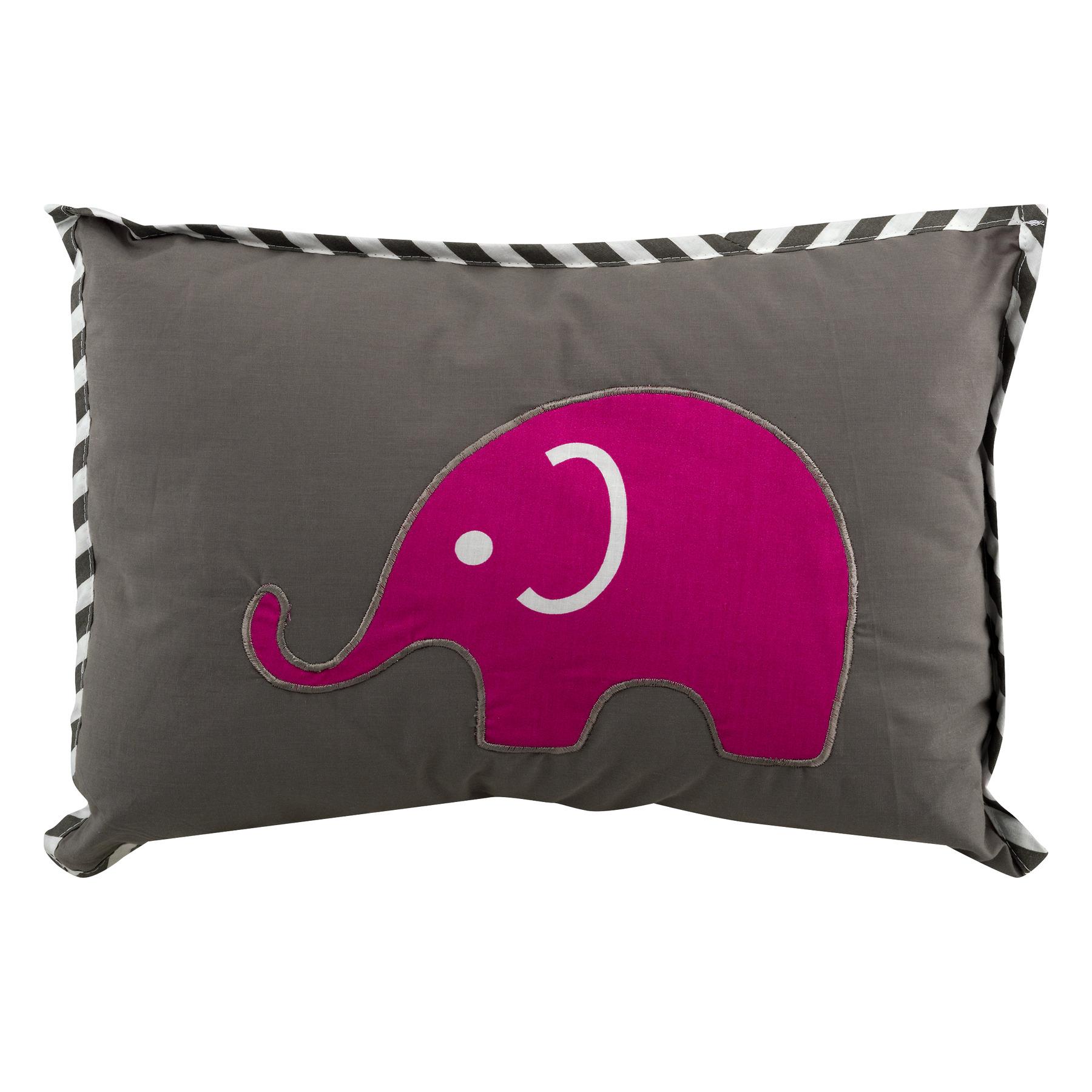 Bacati Decorative Pillow Pink/Grey Elephants, 1.0 CT