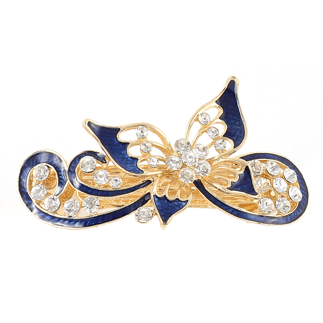 Women Rhinestone Decor Butterfly Design French Hair Barrette Clip Hairpin Blue