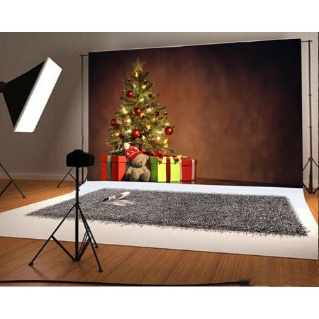 70s Backdrop (MOHome Polyster Photography Christmas Backdrop 7x5ft Christmas Tree Decoration Gifts Lovely Bear Toy Wall Wooden Floor Background Children Kids Baby Shooting Props Video)