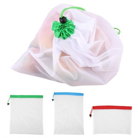 Knifun  16Pcs Reusable Washable Vegetable Fruit Mesh Bags Storage Pouch with Drawstring Closure, Fruit Bag, Fruit Mesh Bag - Fruit Bag