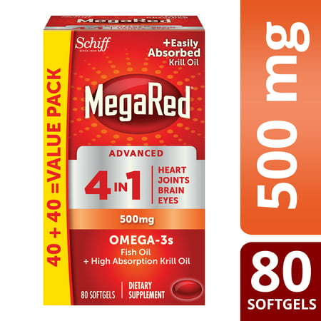 Mega Red Advanced 4 In 1 500Mg  80 Softgels   Concentrated Omega 3 Fish   Krill Oil Supplement