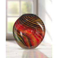 "Dale Tiffany Springdale 9.5""H Striped Heart Hand Blown Art Glass Vase"