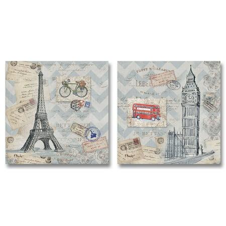 Vintage London Travel Pieces; Paris Eiffel Tower and London's Big Ben Poster Prints; Two 12X12 Paper Prints ()