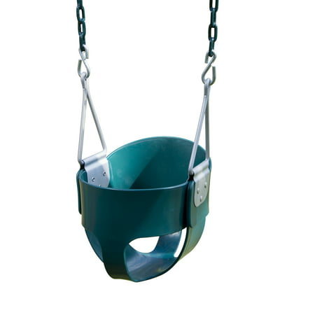 Swing-N-Slide Full Bucket Swing - Green with Green Coated Chains
