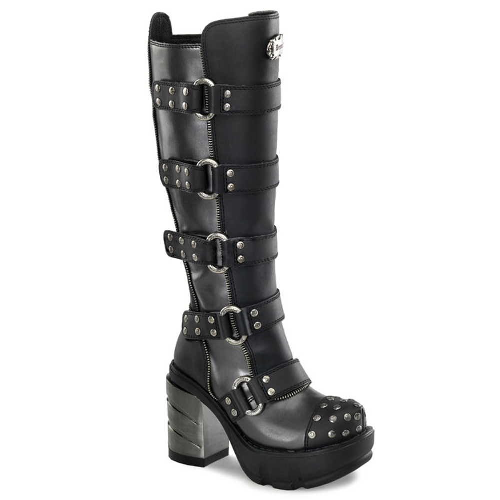Demonia Womens Buckle Strap Boots Studs 3 1/2 Inch Chunky...