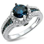 Noori Collection Noori 14k White Gold 1 1/3ct TDW Blue and White Diamond Engagement Ring