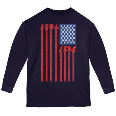 - 4th Of July Stars and Strings Guitar American Flag Youth Long Sleeve T Shirt