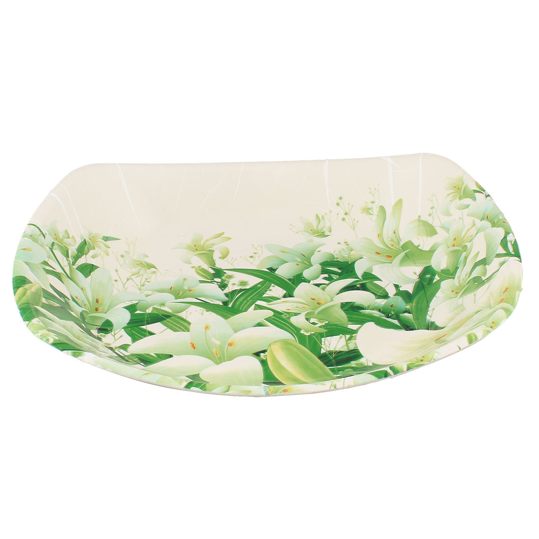 Unique Bargains Tableware Lily Print Plastic Fruits Candy Snack Bread Holder Plate Tray