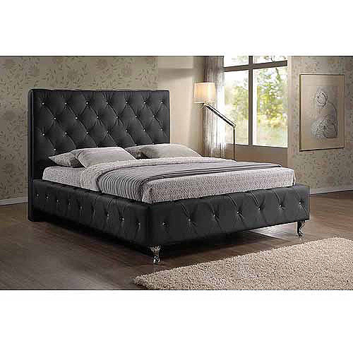 Baxton Studio Stella Queen Crystal Tufted Modern Bed with Upholstered Headboard, Black